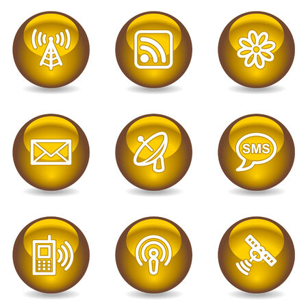 Communication web icons, gold glossy series Stock Vector - 6046845
