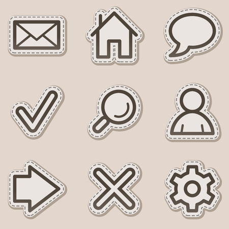 Basic web icons, brown contour sticker series Vector