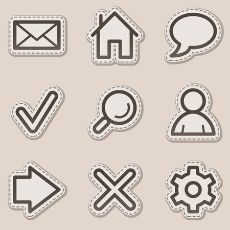 konturen: Grundlegende Web Icons, braun Contour Sticker series Illustration