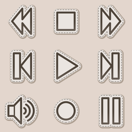 Walkman web icons, brown contour sticker series Stock Vector - 6046706