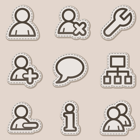 Users web icons, brown contour sticker series Vector