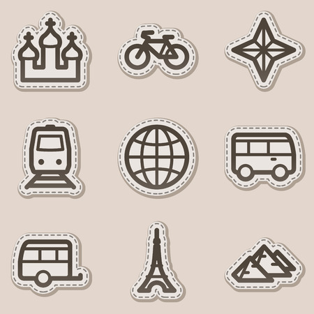 Travel web icons set 2, brown contour sticker series Vector