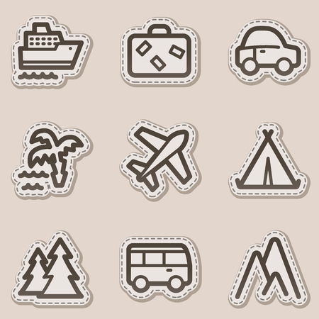 Travel web icons set 1, brown contour sticker series Vector