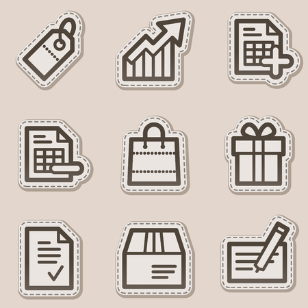 Shopping web icons, brown contour sticker series Illustration