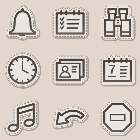 Organizer web icons, brown contour sticker series Stock Vector - 6046729