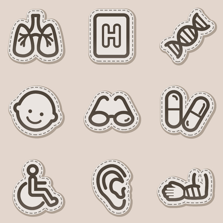 Medicine web icons set 2, brown contour sticker series Stock Vector - 6046739