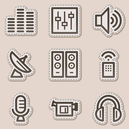 Media web icons, brown contour sticker series Vector
