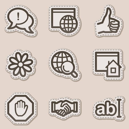 Internet web icons, brown contour sticker series