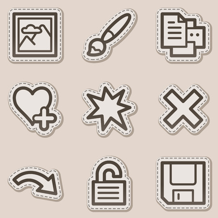and viewer: Image viewer web icons set 2, brown contour sticker series Illustration