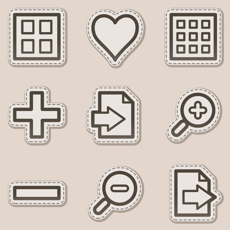 Image viewer web icons set 1, brown contour sticker series Vector