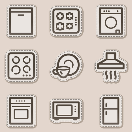 microwave oven: Home appliances web icons, brown contour sticker series