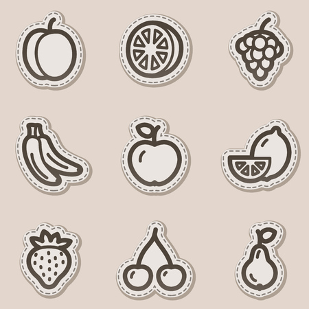 Fruits web icons, brown contour sticker series Vector
