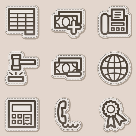 Finance web icons set 2, brown contour sticker series Vector