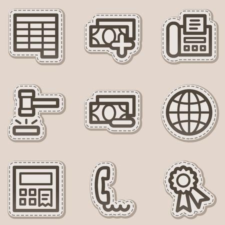 auction: Finance web icons set 2, brown contour sticker series