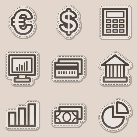 Finance web icons set 1, brown contour sticker series Stock Vector - 6046730