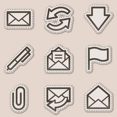 E-mail web icons, brown contour sticker series Stock Vector - 6046708