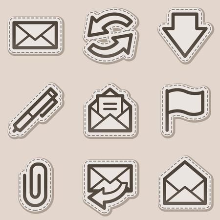 webmail: E-mail web icons, brown contour sticker series