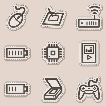 Electronics web icons set 2, brown contour sticker series Vector