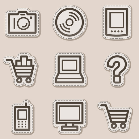Electronics web icons set 1, brown contour sticker series Vector