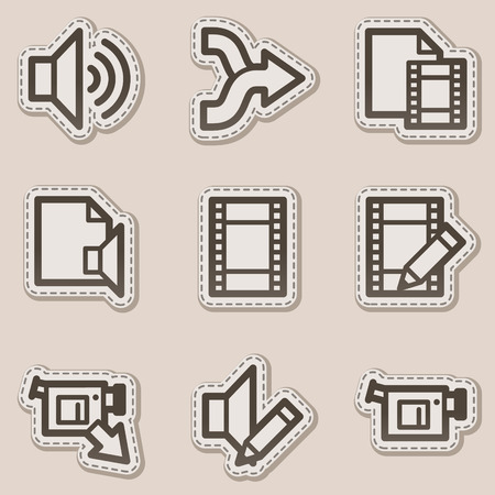 Audio video edit web icons, brown contour sticker series Vector