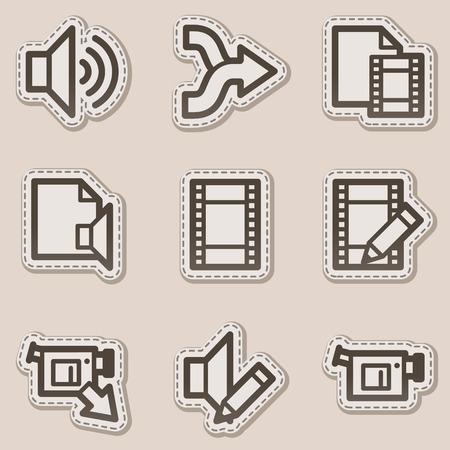edit: Audio video edit web icons, brown contour sticker series