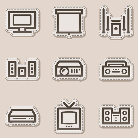 Audio video web icons, brown contour sticker series Vector