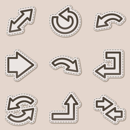 Arrows web icons, brown contour sticker series Vector