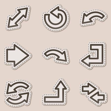 boton flecha: Arrows web serie de contorno de la pegatina de iconos, marr�n