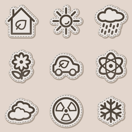 Ecology web icons set 2, brown contour sticker series Vector