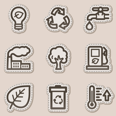 Ecology web icons set 1, brown contour sticker series Vector