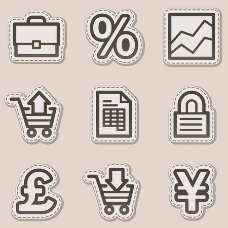 cart cash: E-business web icons, brown contour sticker series