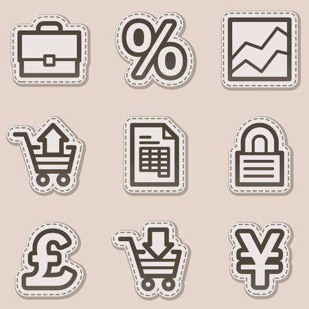konturen: E-Business-Web-Symbole, Braun-Kontur Aufkleber-Serie