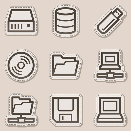 Drives and storages web icons, brown contour sticker series Stock Vector - 6046709