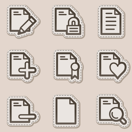 Document web icons set 2, brown contour sticker series Vector