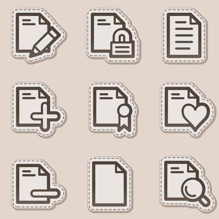 Document web icons set 2, brown contour sticker series Stock Vector - 6046726