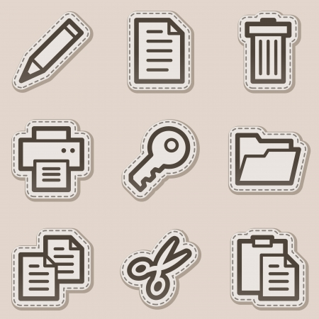 Document web icons set 1, brown contour sticker series Vector