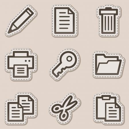 El documento de conjunto de iconos de web 1, serie de etiqueta adhesiva marrón de contorno