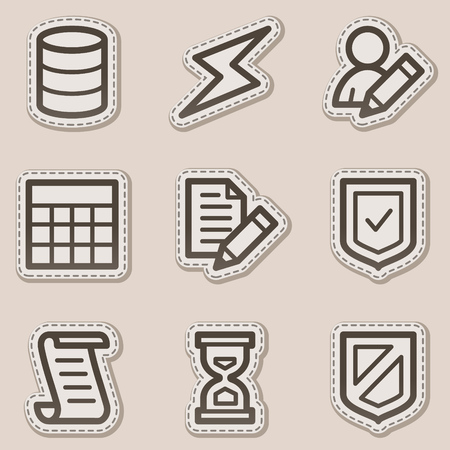 Database web icons, brown contour sticker series Stock Vector - 6046710