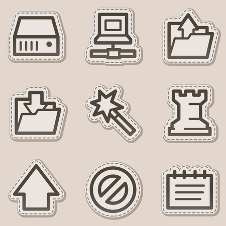 Data web icons, brown contour sticker series Vector