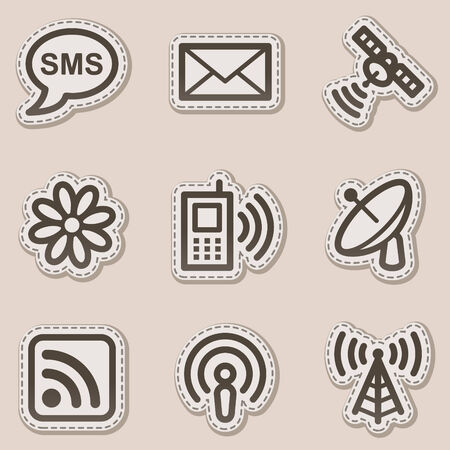 Communication web icons, brown contour sticker series Vector