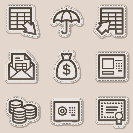 Banking web icons, brown contour sticker series Stock Vector - 6046743