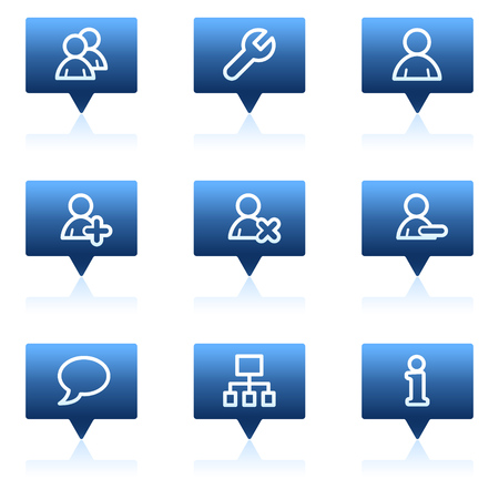 Users web icons, blue speech bubbles series Stock Vector - 6046666