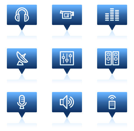 Media web icons, blue speech bubbles series Stock Vector - 6046684