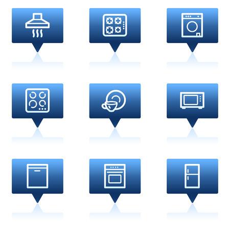 gas laundry: Home appliances web icons, blue speech bubbles series Illustration