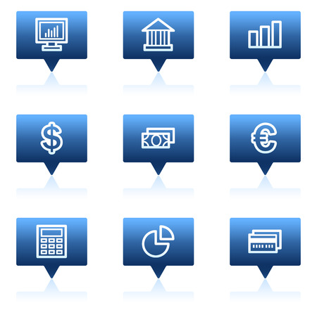 Finance web icons set 1, blue speech bubbles series Vector