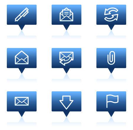 webmail: E-mail web icons, blue speech bubbles series Illustration