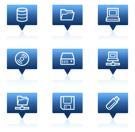 fdd: Drives and storage web icons, blue speech bubbles series