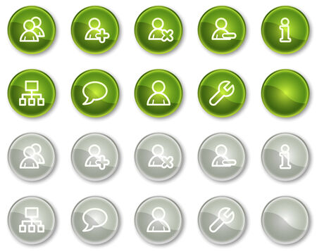 Users web icons, green and grey circle buttons series Stock Vector - 6046931