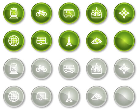 Travel web icons set 2, green and grey circle buttons series Vector