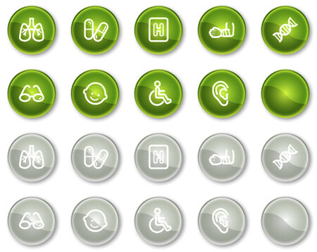 traumatic: Medicine web icons set 2, green and grey circle buttons series